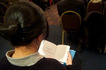 One of the NGO CSW participants reading our booklet