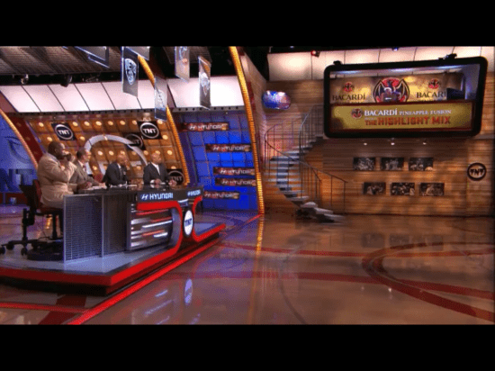 Inside The NBA Studio with especially built DJ platform to launch Bacardi Fusion and NBA Bacardi Highlight Mixer