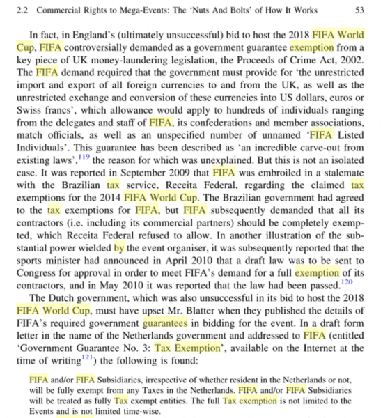 Tax exemptions for Fifa and the World Cup Sponsors, like the alcohol industry. #ProfitOverHumanRights