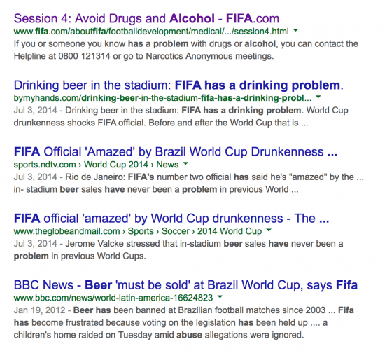 Fifa has an alcohol problem